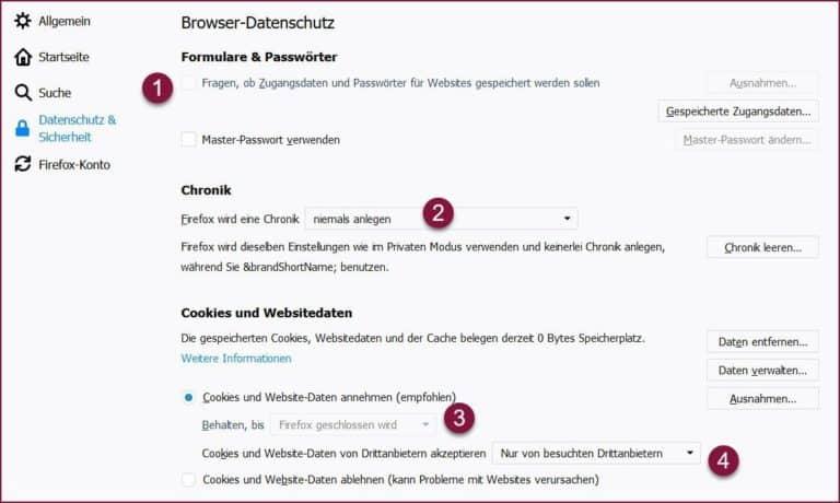Firefox Datenschutz und Sicherheit