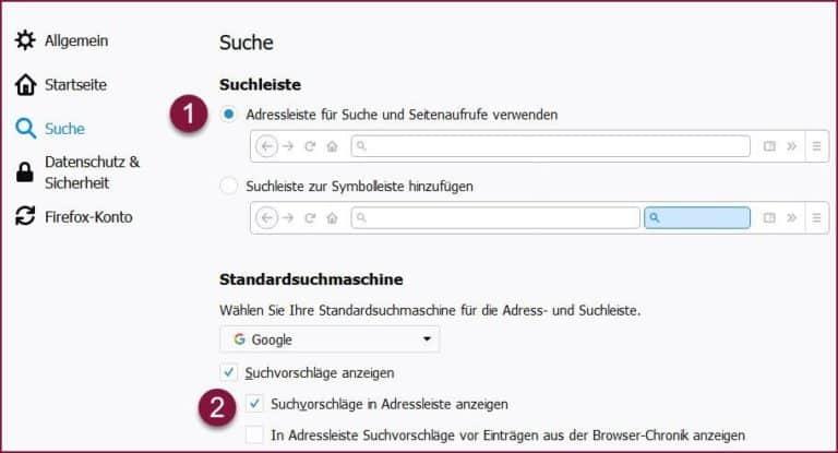 Firefox Adressleiste für Suche