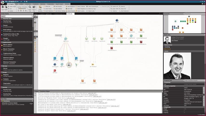 serie (1): maltego: informationsgewinnung für cybercrime und intelligence aufgaben 02 maltego domain person