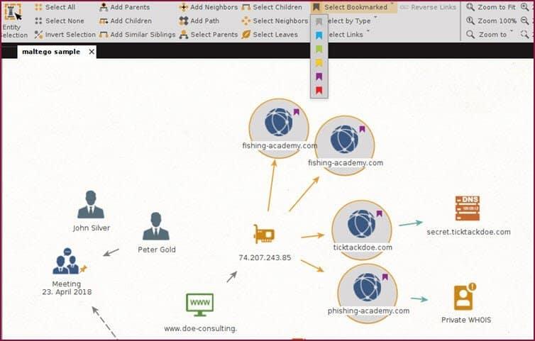 casefile – visualization of information casefile bookmark selection