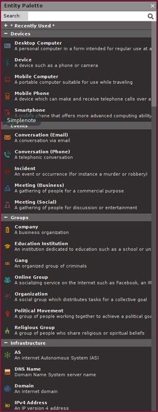 casefile – visualization of information casefile entitäten kategorien