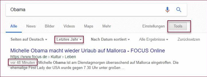 Google Suchoptionen